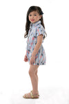 Collared Button Down Romper Shorts - Tropical Blue (GJP 030)