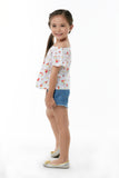 Floral Off Shoulder Top & Denim Shorts Set - White Printed-Denim (GSET 033)