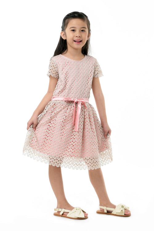 Short Sleeves Lace Dress With Bow (GDS 350)