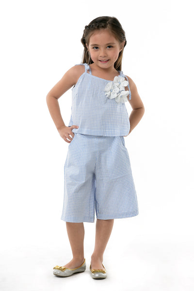 Gingham Strappy Top & Culottes Set - Gingham Blue (GSET 034)