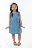 All Over Print Shift Dress With Shoulder Ruffles - Lt. Denim (GDS 359)