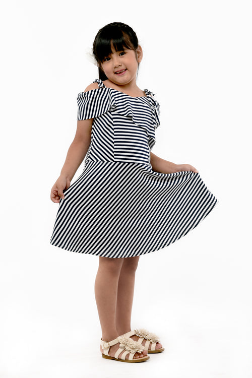 Strappy Cold-Shoulder Striped Dress (GDS 366)