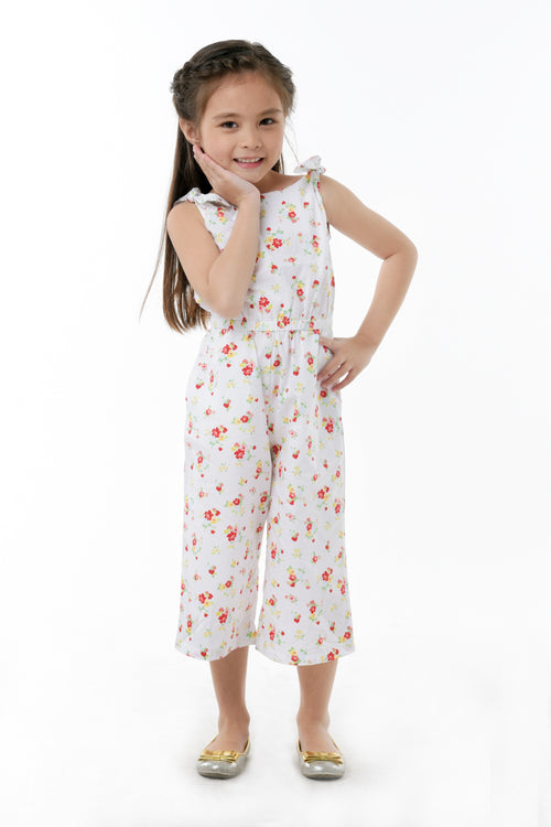 Bow Shoulder Floral Jumpsuit - White Floral (GJP 032)