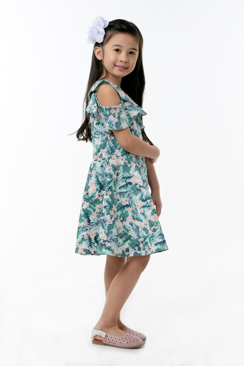 Ruffled cold-shoulder dress (GDS 360)