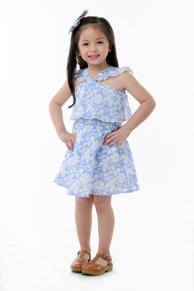 Floral V-Strap Ruffled Dress - Sky Blue (GDS 352)