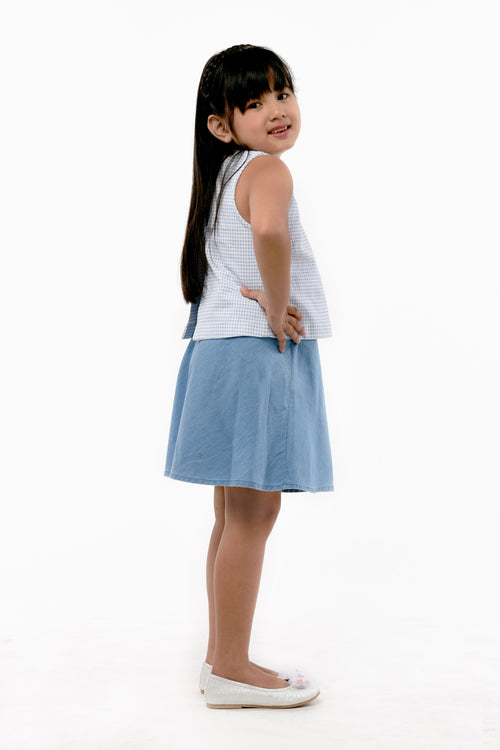 Plaid Sleeveless top and Skirt Set - Light Blue (GSET 029)