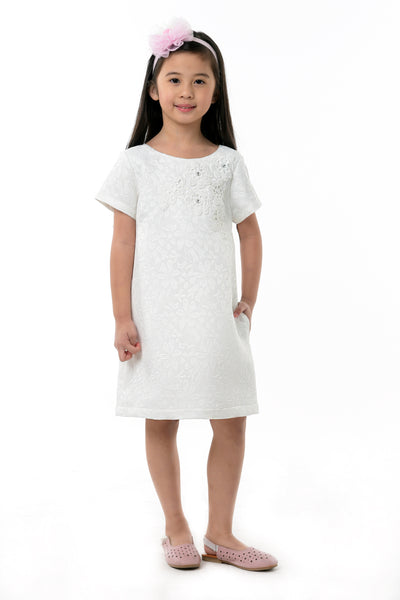 Embossed Shift Dress - White (GDS 374)
