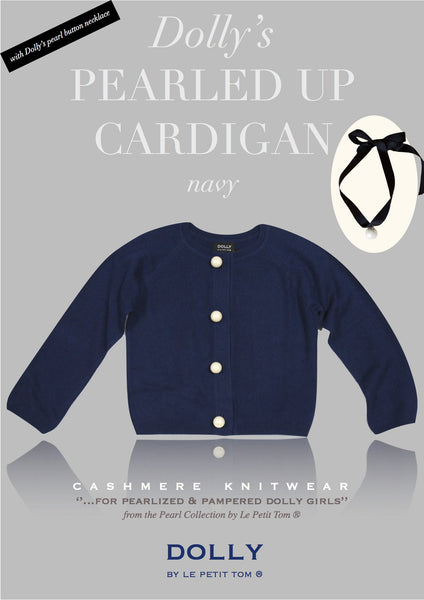 DOLLY by Le Petit Tom ® PEARLED UP CARDIGAN Navy