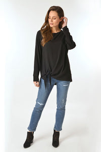 Black Side Knot Top - Debbie Lee Fashions