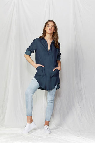 Lindsay Oversized Shirt Dress - Debbie Lee Fashions