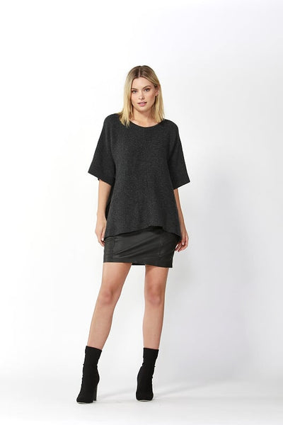 Aveen Cropped Knit - Charcoal - Debbie Lee Fashions