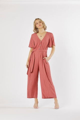 Vision of Love Jumpsuit - Berry Spot - Debbie Lee Fashions