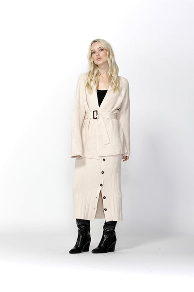 Free Falling Belted Cardigan - Ivory - Debbie Lee Fashions