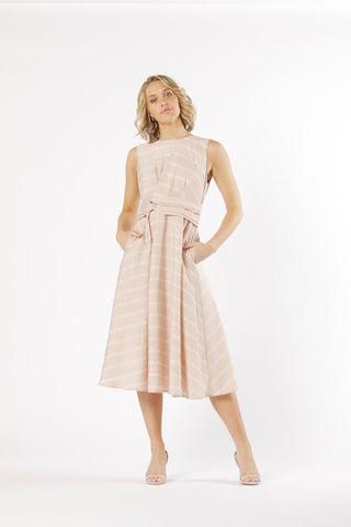 Dream of You Midi Dress - Rose Stripe - Debbie Lee Fashions