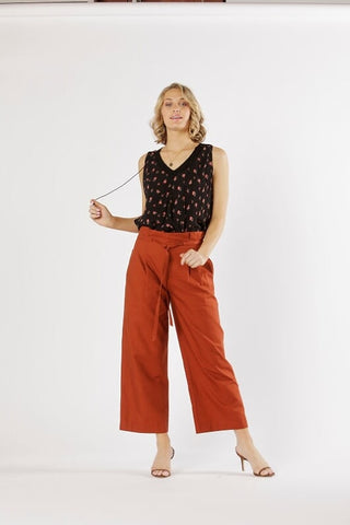 Paloma High Waisted Pant - Caramel - Debbie Lee Fashions