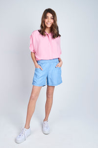 Button Waistband Short - Debbie Lee Fashions