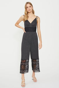 Paige Lace Trim Jumpsuit - Debbie Lee Fashions
