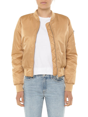 Tan Margot Bomber Jacket - Debbie Lee Fashions