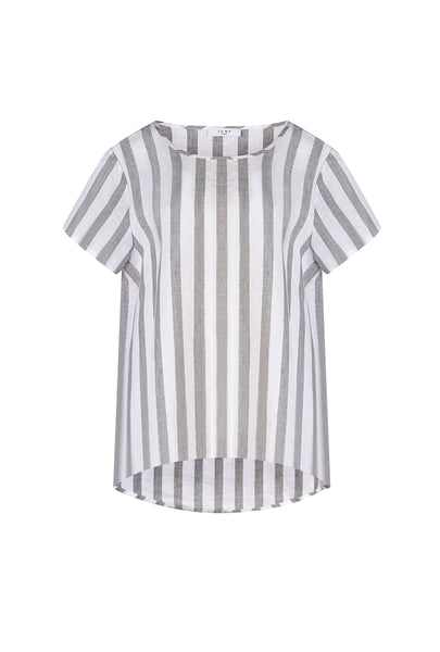 SHORT SLEEVE STRIPE BOXY TOP - Debbie Lee Fashions