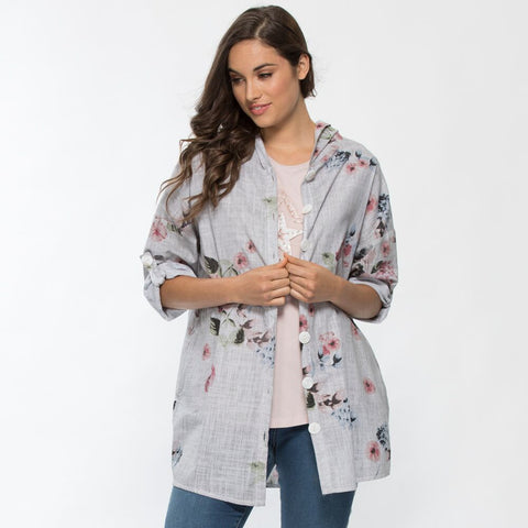 Threadz Hooded Floral Print Jacket - Debbie Lee Fashions