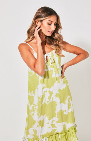 Bondi Frill Maxi Dress - Lime Crush - Debbie Lee Fashions
