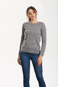 Grey Self Bobble Pullover - Debbie Lee Fashions