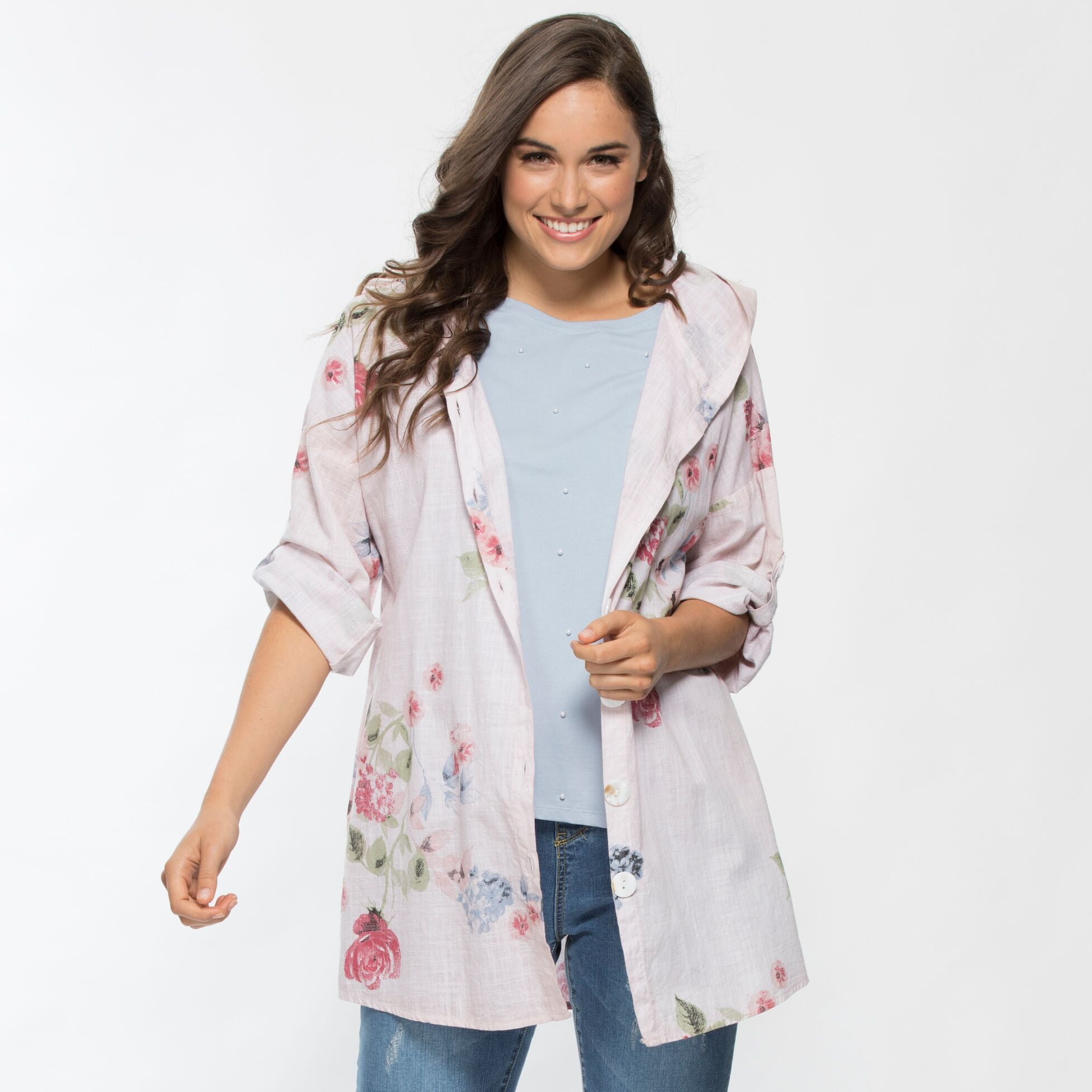 Threadz Floral Print Hooded Jacket - Debbie Lee Fashions