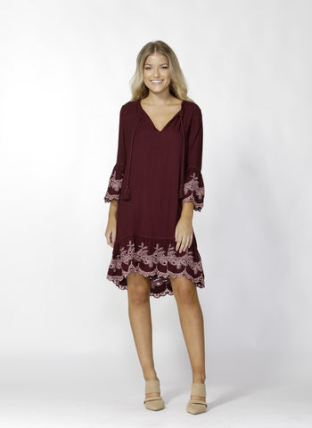 Orlinda Embroidered Hem Dress - Debbie Lee Fashions