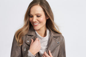 Leather Zipper Jacket - Woodsmoke - Debbie Lee Fashions