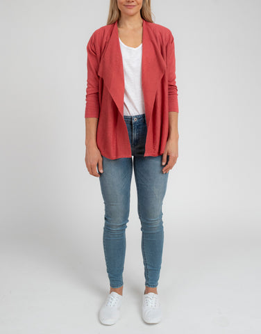 Clay 3/4 Sleeve Waterfall Cardi