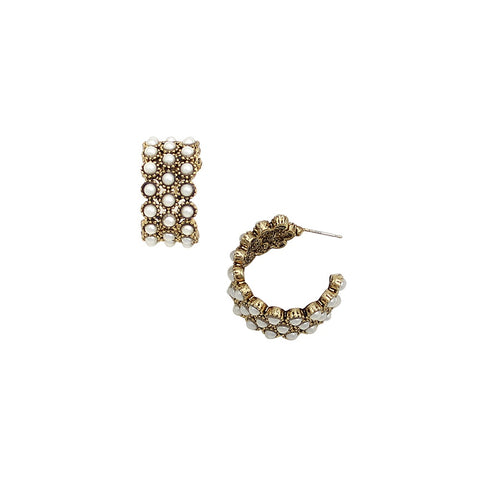 Pearl Hoop Earrings - Debbie Lee Fashions