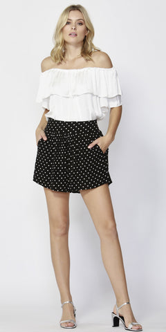 Paris Nights Shirred Shorts - Debbie Lee Fashions