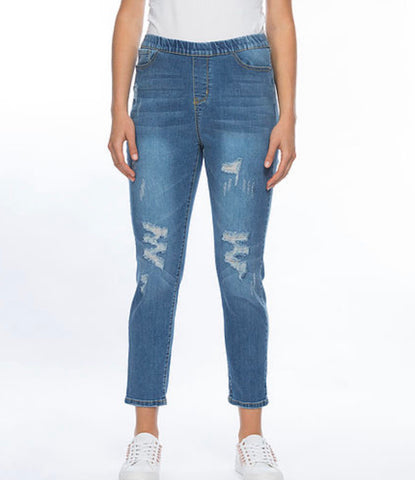 Threadz pull on ripped jeans - Debbie Lee Fashions
