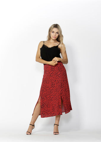 Push Back Slit Skirt - Debbie Lee Fashions