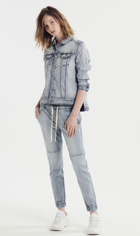 Denim Jogger Vintage Wash - Debbie Lee Fashions