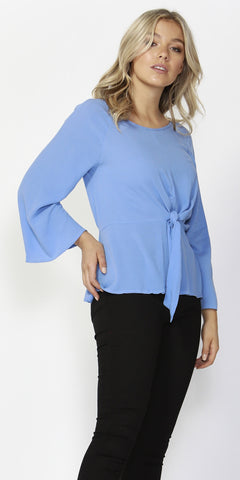 Twisted Tie Front Blouse - Debbie Lee Fashions
