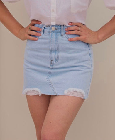 Trashed Edge Denim Skirt