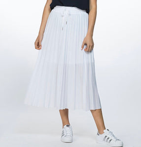 Threadz Mesh Pleat Skirt White - Debbie Lee Fashions