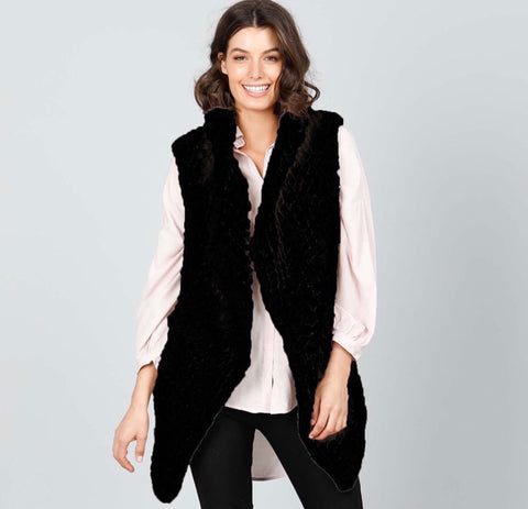 Haywood Faux Fur vest Black