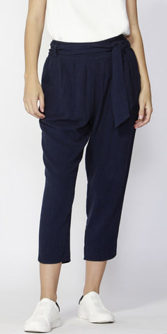 Summer Lovin Tie Waist Pants Navy - Debbie Lee Fashions