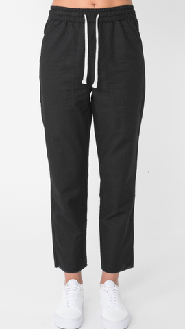 Black Mercer Linen Pant - Debbie Lee Fashions