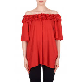 JR Off the Shoulder Top - Red