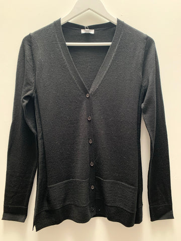 Black Button Up Wool Cardigan