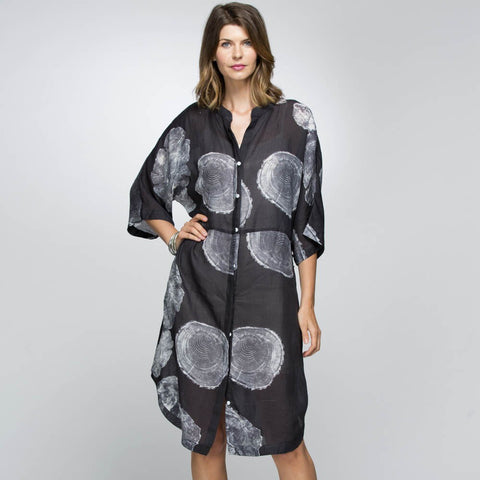 Fossil Print Shirt Dress - Debbie Lee Fashions