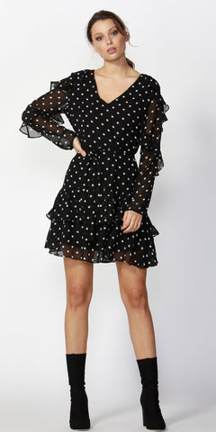 Dee Polka Dot Frilled Dress - Debbie Lee Fashions