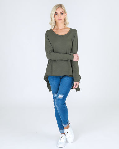 Willow Tee Khaki - Debbie Lee Fashions