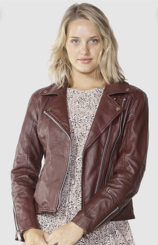 Jupiter Moto Leather Jacket - Burgundy - Debbie Lee Fashions