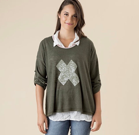 2-In-1 Sequin Cross Knit