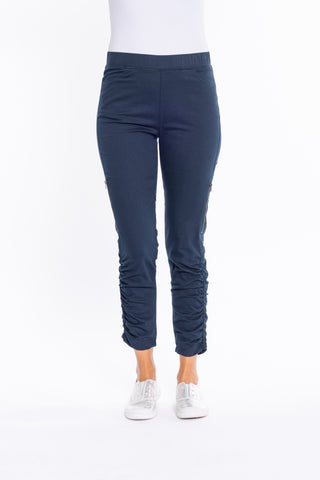Navy Gather Side Zip Pant