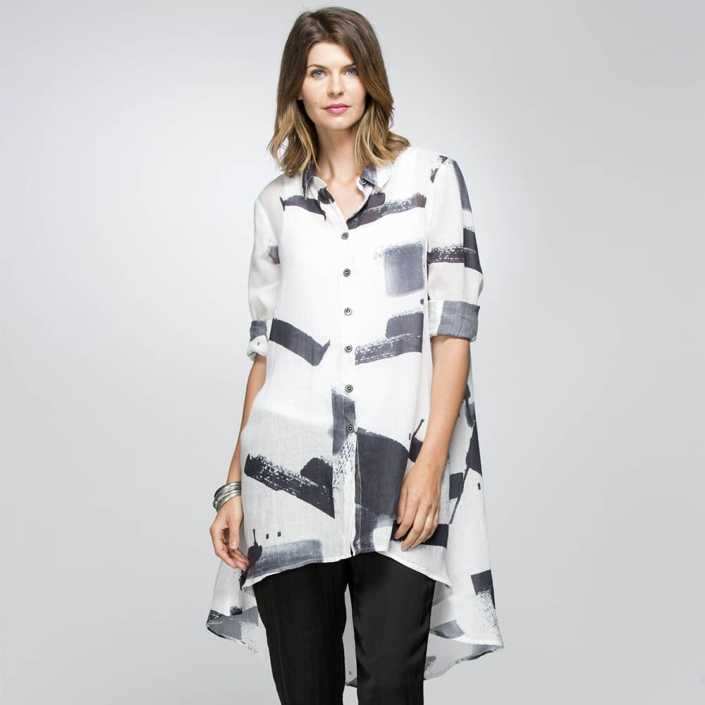 Hi Lo Print Shirt - Debbie Lee Fashions